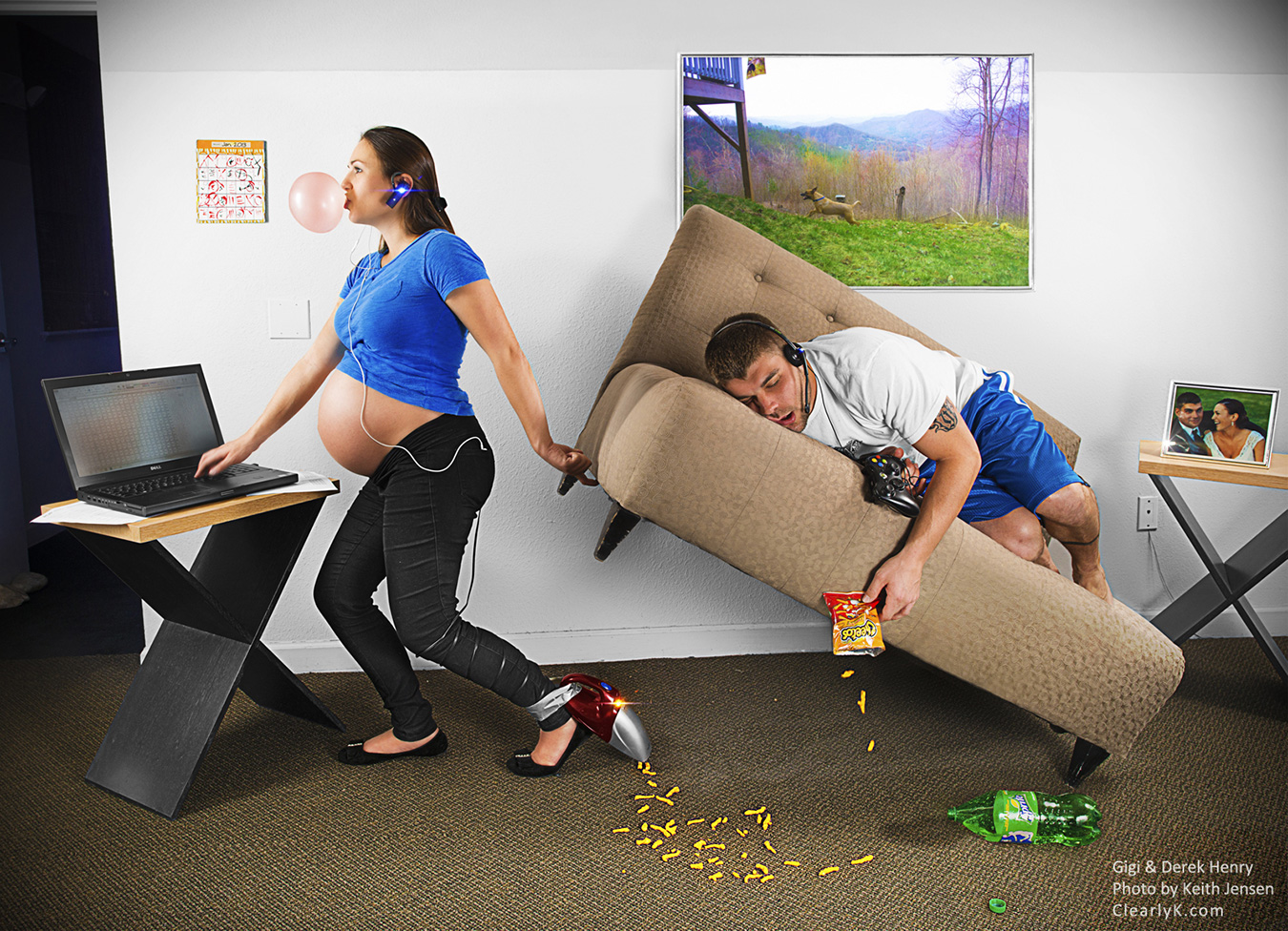 Working Mom - A portrait of Gigi and Derek Henry about a month before the birth of their twins.