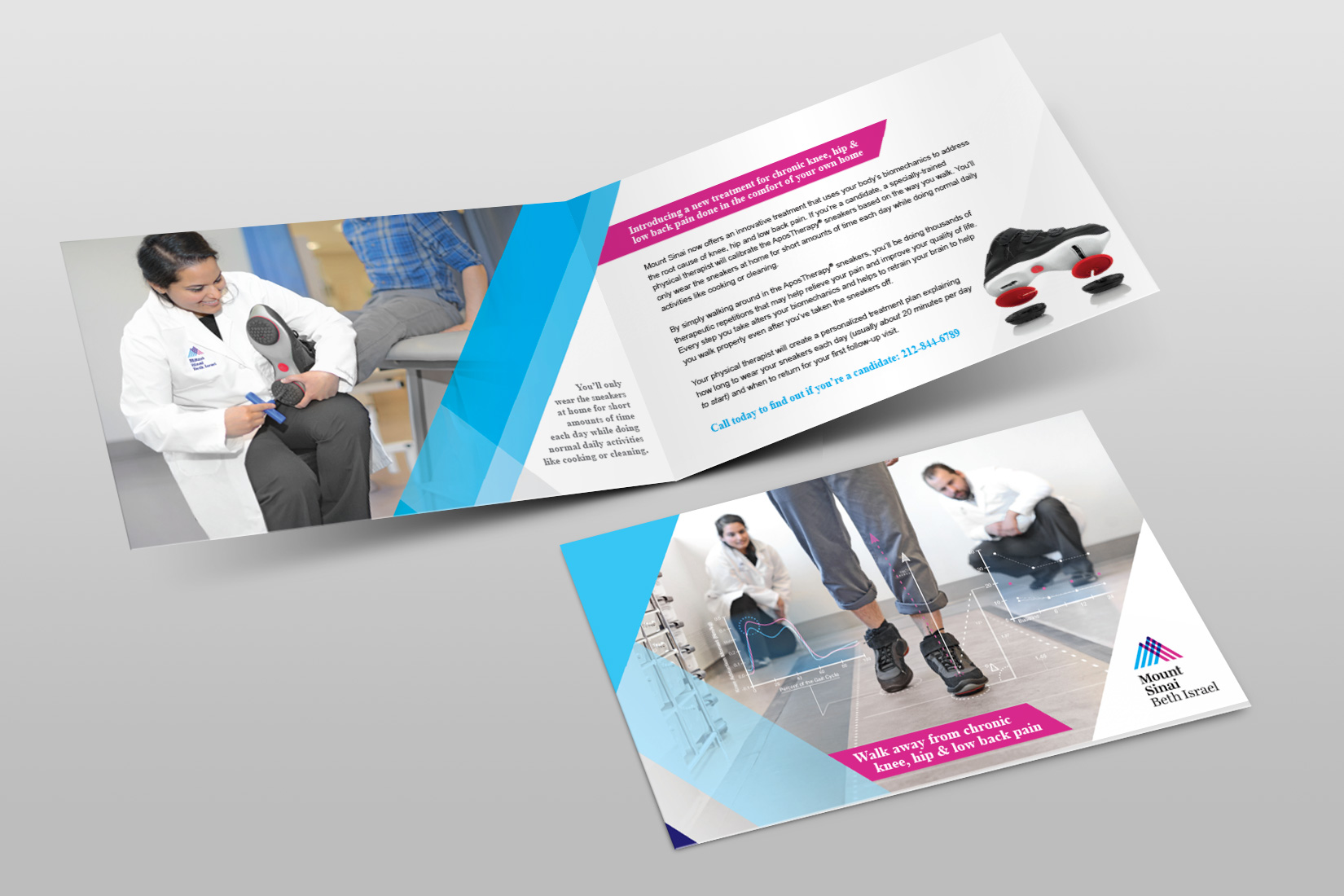 I shot the photography, wrote the copy, and designed this Mount Sinai brochure featuring AposTherapy treatment.